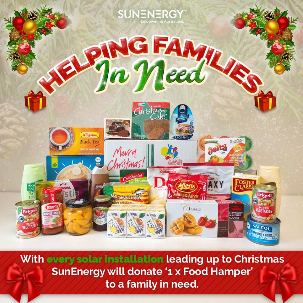Solar company works with Puddle Jumpers and Foodbank to donate Christmas food hampers to families in need with with every installation